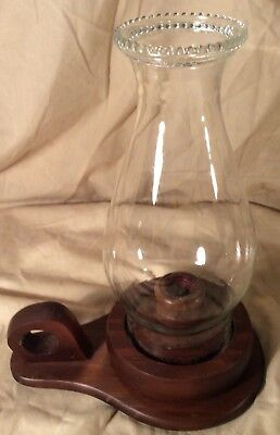 Wood Candle Holder Glass Hurricane Table Globe Candlestick Primitive Country