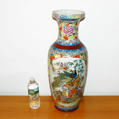 """23"""" Tall Antique Chinese Porcelain Hand Painted Peacocks Flowers Vase Pot Large"""