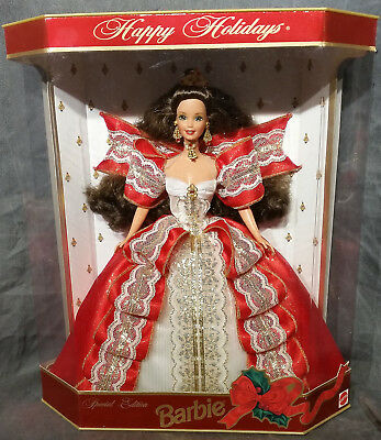 Mattel 1997 Happy Holidays Barbie With Red And Gold Dress - Rare Item!!