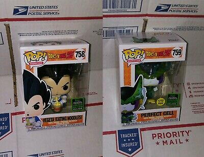 Funko Pop Dbz: Vegeta( Eating Noodles),Perfect Cell Gitd. Eccc 2020 Shared Exc.