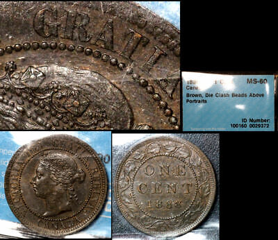 FEBRUARY SALE: Large Cent - 1888 Die Clash Beads above Queen MS60 (bfa800)