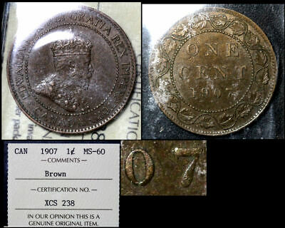 FEBRUARY SALE: Large Cent - 1907 Repunched 7/7 R/L - ICCS MS60 (bfa824)