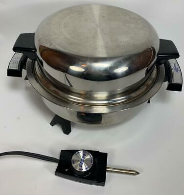 """11"""" West Bend Webalco Lifetime Electric Oil Core Stainless Steel Skillet # 7906"""