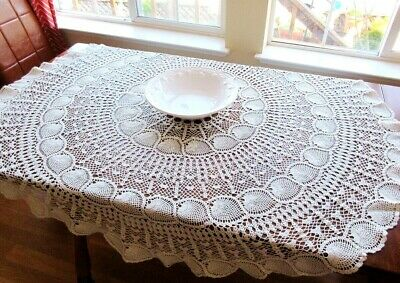 """Vintage ROUND Cream White Handmade Lace Tablecloth  57"""" D. Lovely Crochet - USA!"""
