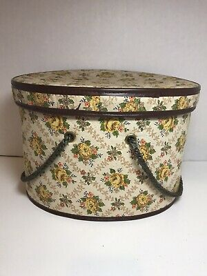 Vintage Sewing Basket Box Oval With Sturdy Yarn Handles Some Signs Of Age Pretty
