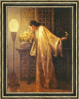 """Hand-painted Original Oil painting Portrait art chinese girl on Canvas 30""""X40"""""""