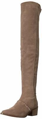 Report Womens Zaria Satin Pointed Toe Over Knee Fashion Boots, Taupe, Size 8.0 P