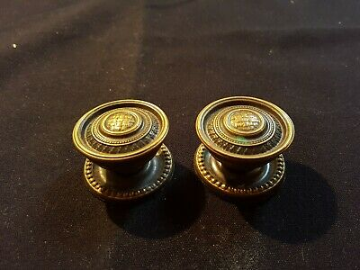 Reclaimed Antique Pair of Brass Victorian Door Knobs Handles Furniture (EER142)