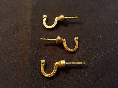 Reclaimed Antique Set of Three Victorian Brass Hooks Furniture (EER139)