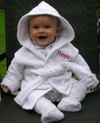 BABY HOODED BATH ROBE embroidered with a ELEPHANT design and Personalised Name