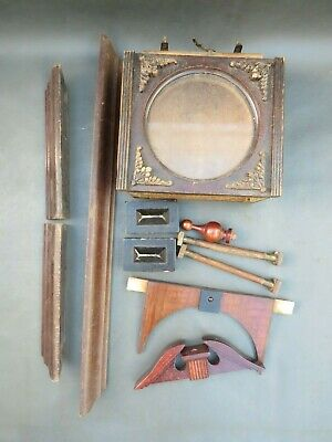 Job lot of vintage wooden clock case parts mouldings etc. - spares or parts