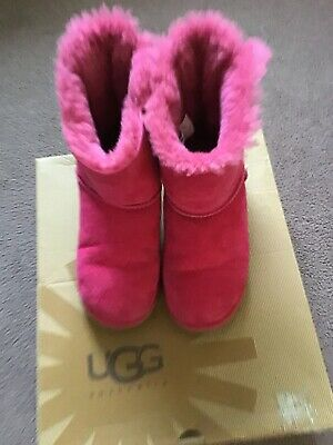 Genuine Ugg Boots Bailey Bow Girls Pink Size UK 3 EU 34