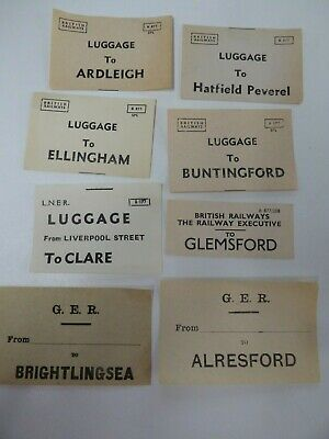 GER & BR assorted luggage labels x 8  incl. Ardleigh, Brightlingsea, Clare