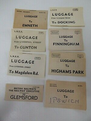 GER & BR assorted luggage labels x 8  incl. Ipswich, Magdalene Road