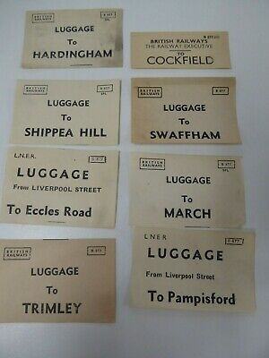 GER & BR assorted luggage labels x 8  incl. Cockfield, Pampisford, Eccles Road