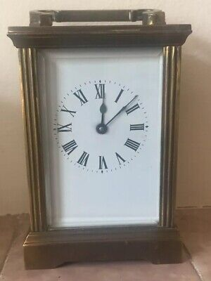 "Carriage Clock Brass Case Platform Movement Enamelled Face  Working Order 4.5""L"