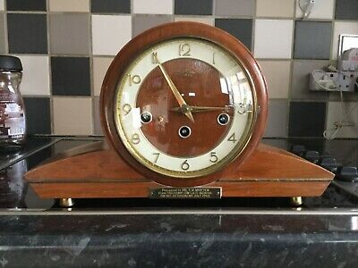 Bentima German 8 Day Chiming Mantle Clock Napoleon Hat Vintage Retirement Gift