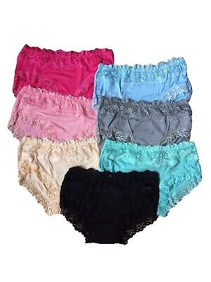 Soft Teen Girls Underwear 7 Pack Bamboo Lace Cotton Briefs/Pants/Knickers (One S