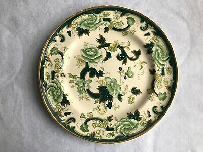 Vintage Mason's Ironstone  Chartreuse   Printed And Hand Painted Dinner Plate Va