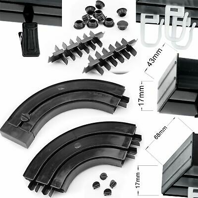 CORNER and COVER Curtain Rail Track Black PVC Ceiling SET HOOKS or CLIPS