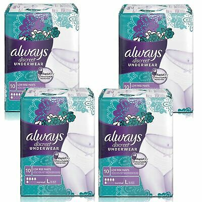 Always Discreet Sensitive Bladder Incontinence Pants Underwear Large - 40 Pack