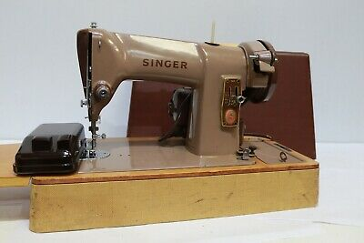 Vtg 1950s SINGER 185K ELECTRIC Sewing Machine w/ Case + Accessories - 250
