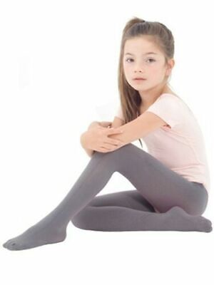 Buy One Get One Free Kids Tights  Girls Boys Grey  Plain Cotton Rich  3-4 Years