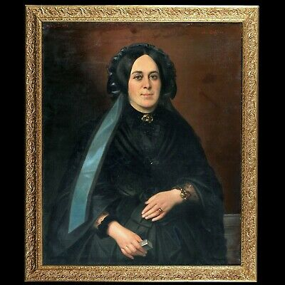 "ANTIQUE OIL PAINTING ON CANVAS WITH FRAME ""PORTRAIT OF NOBLE LADY"" dated 1860"