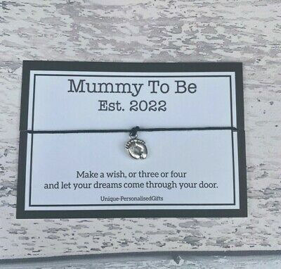 Mummy Mum To Be Pregnancy Congratulations Charm Wish Bracelet Baby Shower Gift