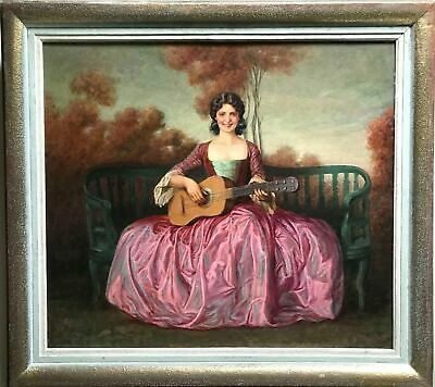 "ANTIQUE OIL PAINTING ON PANEL WITH FRAME ""PORTRAIT OF LADY"" end of 1800 circa"