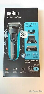 ⭐Braun S3 Shave & Style 3 in 1 Wet and Dry Rechargeable Electric Shaver 3010BT