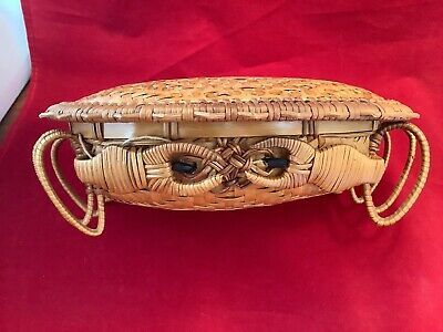 Antique Wicker & Bamboo Woven Crab Basket Lidded RARE Vintage Chinese Folk ArtF1