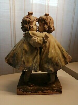 Antique Terracotta Statuette 1800's Statue Girls Twins 35x35 cm