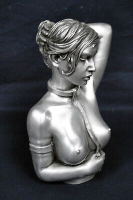 "Catching Dreams Ltd 7.5"" Silver NUDE ""SEDUCTION LADY"" Resin Display Bust!"