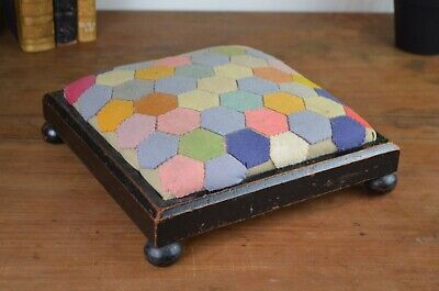 Victorian Ebonised Oak Wooden Square Footstool With Colourful Patchwork Top