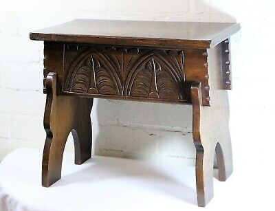 A Vintage Arts & Crafts Boxed Oak Carved Stool By Bevan Funnell Antique REPRODUX