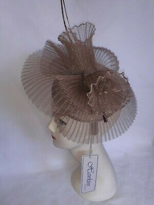 Champagne Sinamay Fascinator Hat Headband Wedding,Ladies Day,Race,Royal Ascot Uk