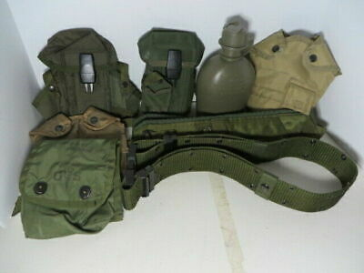 US Military Lot LBE Pistol Belt LG Suspenders 2 Ammo Pouch Canteen First Aid