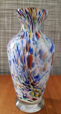Vintage Mid Century White Cased Murano Multicoloured Glass Vase