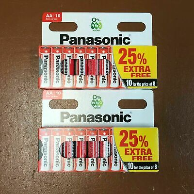 20 x AA Genuine PANASONIC Zinc Carbon Batteries New R6 1.5V Battery EXPIRY 2022
