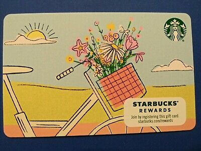 """Starbucks gift card 2019 """" SPRING FLOWERS """" CUTE CARD~ 🚲 AND 🌼 NO VALUE~ NEW"""