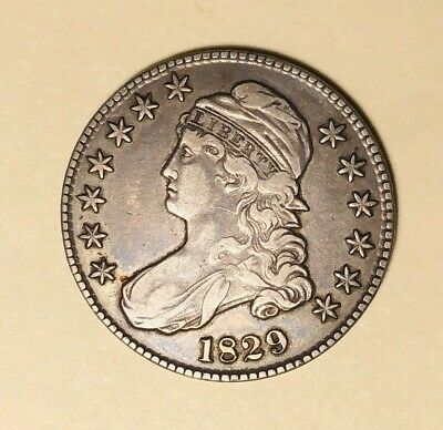 1829 Capped Bust Half Dollar Fine Condition Dark Tone