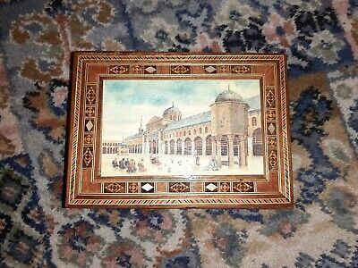 Vintage Antique Art Wooden Box Lacquer Mother of Pearl Inlay Red Velvet Lining