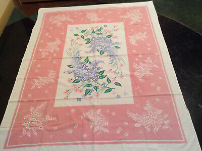 Vintage Tablecloth Floral Pink White Green Blue No Holes No Spots