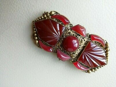 Vintage jewellery goldtone and glass buckle.
