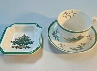 L👀K Spode Christmas Tree Pattern Tea Cup & Saucer and Ash Tray