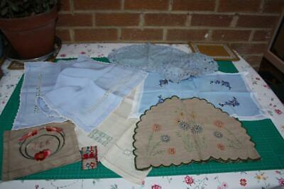 Job Lot of 8 Asst Vintage Items Table Mats,Runners,Tea Cosy,Sachet,Embroidery