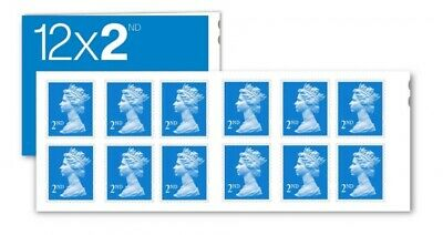 New Royal Mail Stamps Second 2nd class Book of 12 Letter Stamps.