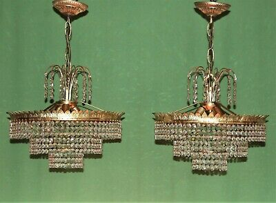 French brass and lead crystals chandeliers.