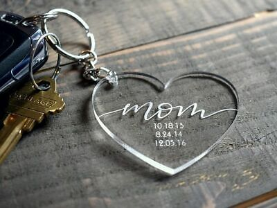 Crystal Clear Personalised KEYRING/KEYCHAIN Love Mum Gift Mothers Day Design